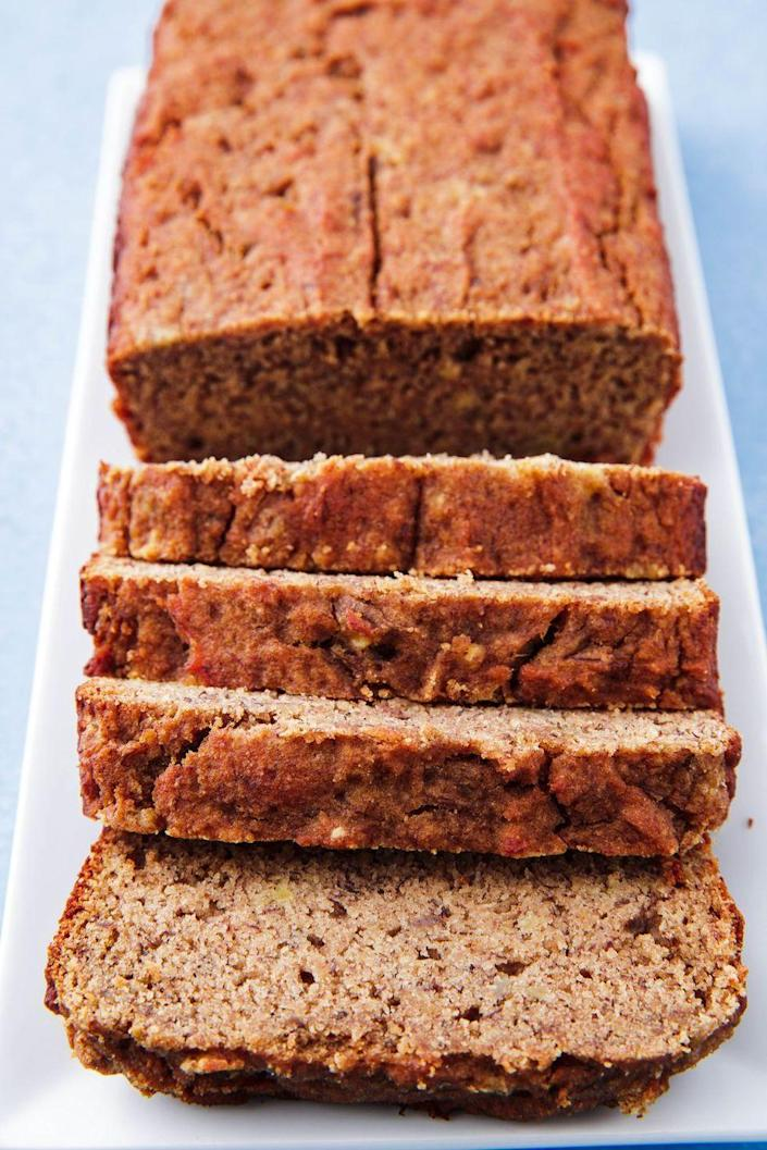 """<p>So good, you'll be eating it for breakfast <em>and </em>dessert.</p><p>Get the recipe from <a href=""""https://www.delish.com/cooking/recipe-ideas/a25349771/best-paleo-banana-bread-recipe/"""" rel=""""nofollow noopener"""" target=""""_blank"""" data-ylk=""""slk:Delish"""" class=""""link rapid-noclick-resp"""">Delish</a>.</p>"""