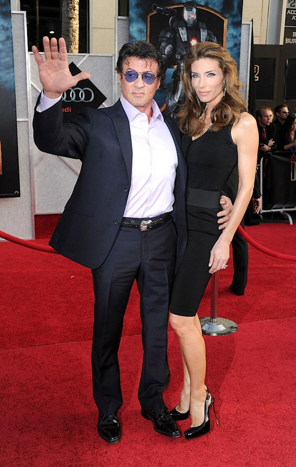 """<a href=""""http://movies.yahoo.com/movie/contributor/1800020291"""">Sylvester Stallone</a> and wife at the Los Angeles premiere of <a href=""""http://movies.yahoo.com/movie/1810026429/info"""">Iron Man 2</a> - 04/26/2010"""