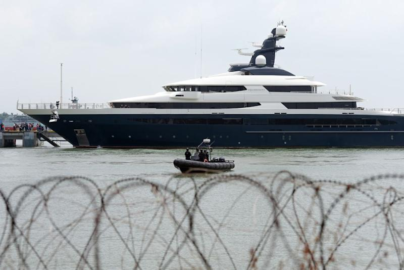 The seized superyacht Equanimity, purportedly belonging to fugitive businessman Jho Low, has arrived in Port Klang August 7, 2018. ― Picture by Mukhriz Hazim