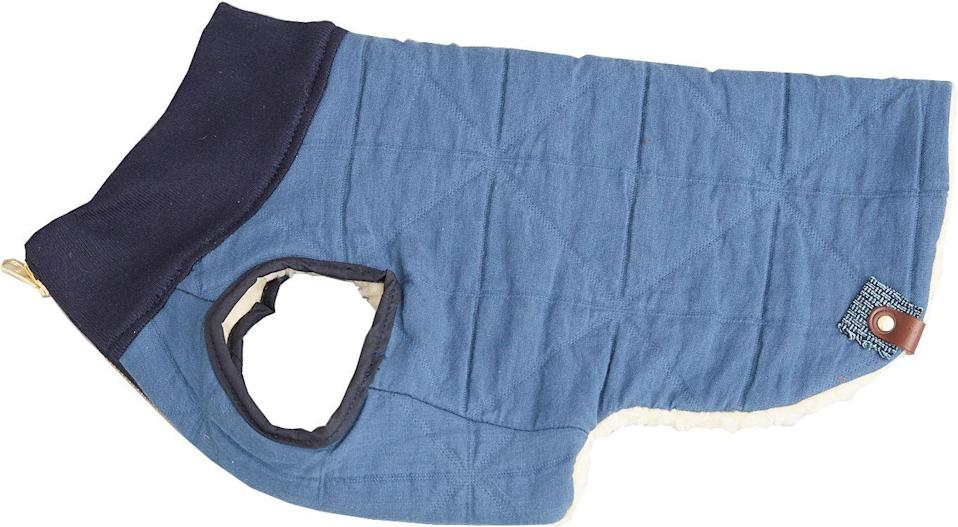 """<p>Fashionable canines will adore a lightweight Sherpa jacket from Kintails. Made from quilted cotton with a contrasting fleece lining, it is reversible, ensuring your pooch remains stylish, whatever the weather.</p><p>£65, <a href=""""https://kintails.com/products/quilted-reversible-sherpa-fleece-dog-jacket"""" rel=""""nofollow noopener"""" target=""""_blank"""" data-ylk=""""slk:Kintails"""" class=""""link rapid-noclick-resp"""">Kintails</a>.</p>"""