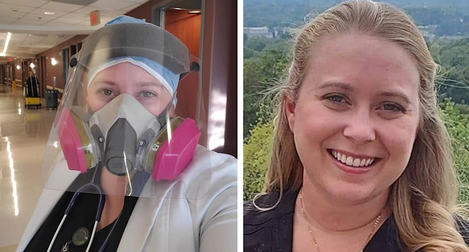 Dr Brytney Cobia pictured, left in PPE at the hospital, and (right) outside. Source: Facebook
