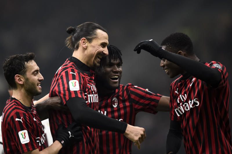 STADIO GIUSEPPE MEAZZA, MILAN, ITALY - 2020/01/28: Zlatan Ibrahimovic (2nd from L) of AC Milan celebrates with his teammates after scoring a goal during the Coppa Italia football match between AC Milan and Torino FC. AC Milan won 4-2 over Torino FC after extra times. (Photo by Nicolò Campo/LightRocket via Getty Images)