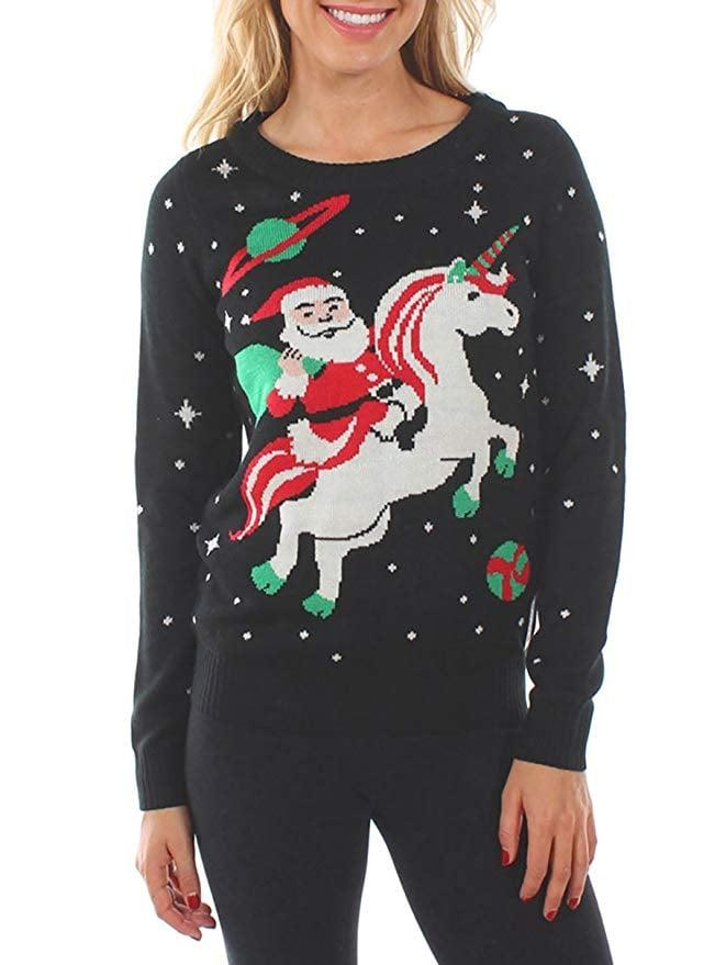 "<p>This <a href=""https://www.popsugar.com/buy/Women-Santa-Unicorn-Christmas-Sweater-512985?p_name=Women%27s%20Santa%20Unicorn%20Christmas%20Sweater&retailer=amazon.com&pid=512985&price=40&evar1=fab%3Aus&evar9=32410225&evar98=https%3A%2F%2Fwww.popsugar.com%2Ffashion%2Fphoto-gallery%2F32410225%2Fimage%2F46862159%2FWomen-Santa-Unicorn-Christmas-Sweater&list1=shopping%2Csweaters%2Choliday%2Cchristmas%2Cwinter%2Cwinter%20fashion%2Choliday%20fashion&prop13=api&pdata=1"" rel=""nofollow"" data-shoppable-link=""1"" target=""_blank"" class=""ga-track"" data-ga-category=""Related"" data-ga-label=""https://www.amazon.com/Tipsy-Elves-Unicorn-Christmas-Sweater/dp/B011ML1HSO/ref=sr_1_14?crid=24HW3KZMRTGQP&amp;dchild=1&amp;keywords=ugly+christmas+sweater+for+women&amp;qid=1573076050&amp;sprefix=ugly+ch%2Caps%2C150&amp;sr=8-14"" data-ga-action=""In-Line Links"">Women's Santa Unicorn Christmas Sweater</a> ($40) is hysterical.</p>"