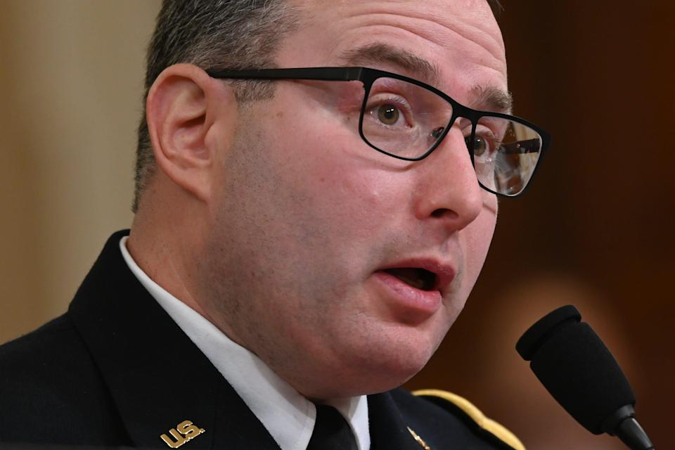 Lt. Col. Alexander Vindman, a Ukraine expert for the National Security Council, testifies Nov. 19, 2019, before the Permanent Select Committee on Intelligence in a public hearing in the impeachment inquiry into allegations President Donald Trump pressured Ukraine to investigate his political rivals.