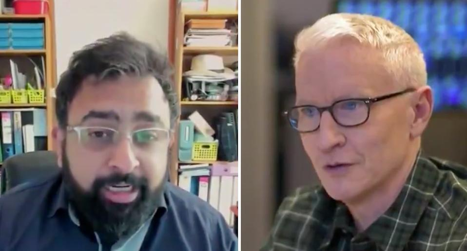 Jitarth Jadeja, pictured left, talking with CNN anchor Anderson Cooper (right). Source: CNN