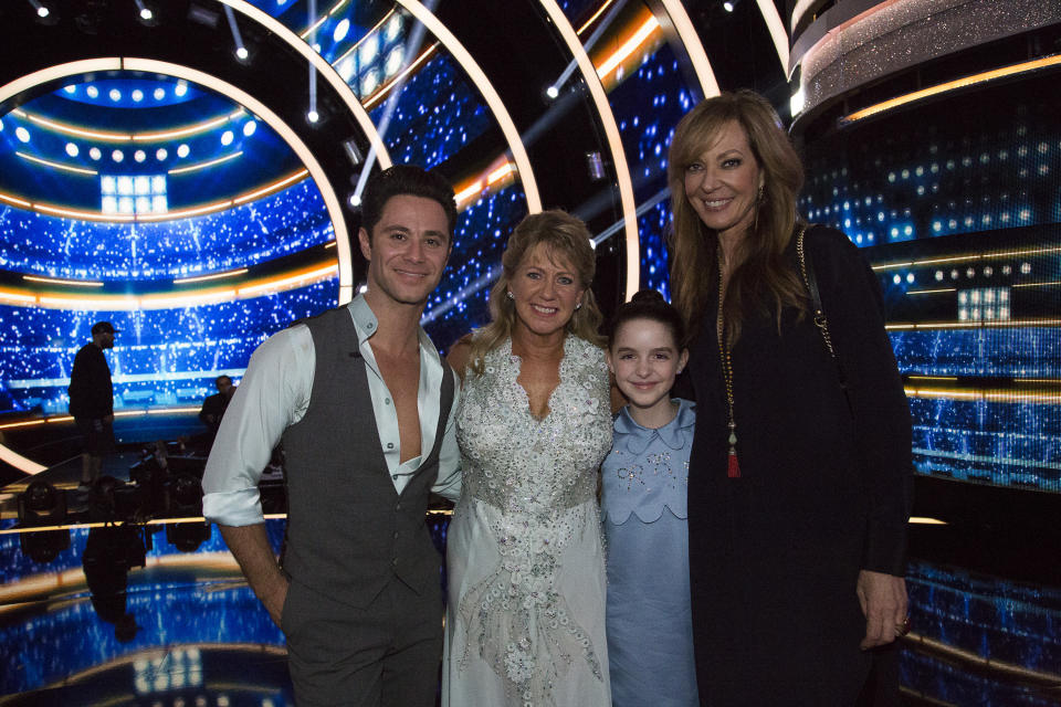 Sasha Farber, Tonya Harding, Mckenna Grace, and Allison Janney at the premiere of Dancing With the Stars. (Photo: Kelsey McNeal/ABC via Getty Images)
