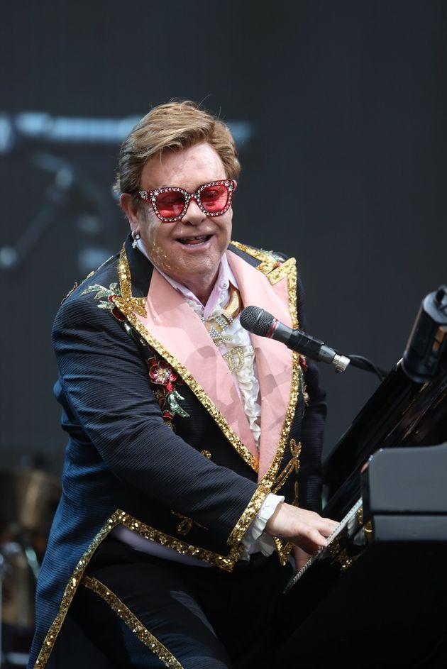 Elton John performing in Auckland, before he was forced to cut his show short
