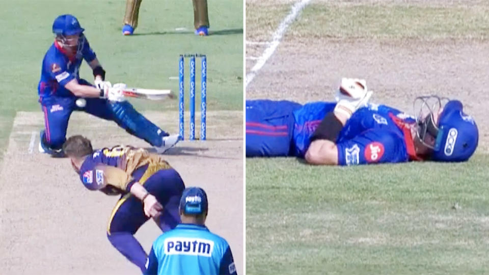 Steve Smith, pictured here getting hit below the belt in the IPL.