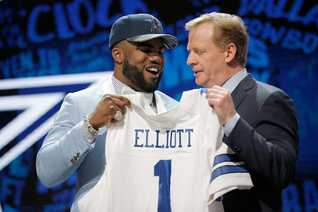 Ezekiel Elliott and Roger Goodell, pictured together in happier times during the 2016 NFL draft. (Getty)