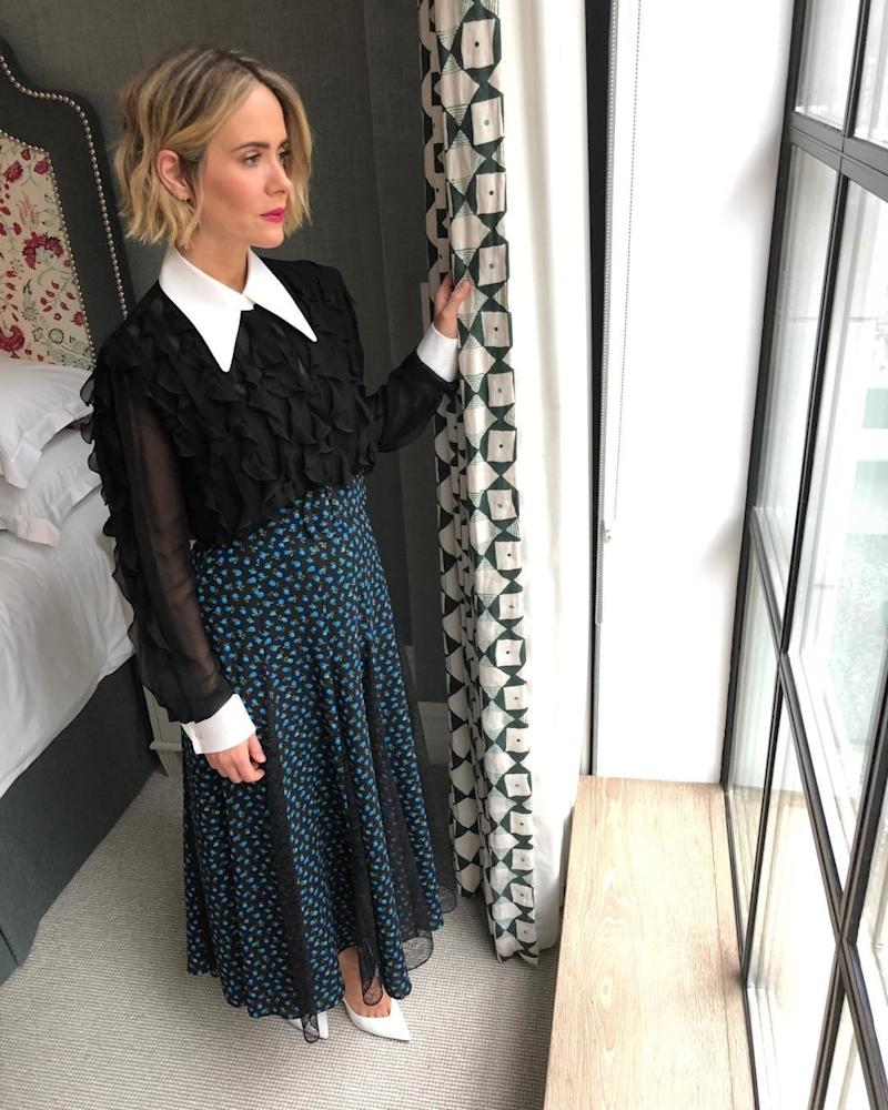 Sarah Paulson poses during press for Ocean's 8. Photo courtesy of Instagram.