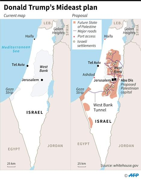 Map of Israel and Palestinian territories showing a proposed Mideast plan of US President Donald Trump, announced in Washington on Tuesday. (AFP Photo/)