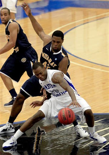 Murray State's Ivan Aska (42) guards against Eastern Illinois' Morris Woods (20) during the first half of an NCAA college basketball game on Friday, Dec. 30, 2011, in Charleston, Ill. (AP Photo/ Stephen Haas)