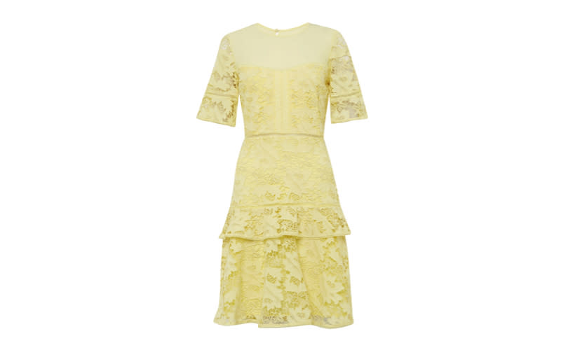 """The red carpet is awash with zesty lemon this season and we're taking the trend to the altar. Perfect for breezy summer nuptials, French Connection has delivered on the wedding guest attire front in one fell (very stylish) swoop. <a href=""""https://www.frenchconnection.com/product/woman-collections-dresses-wedding-guest-dresses/71lpa/calli-lace-round-neck-dress.htm"""" rel=""""nofollow noopener"""" target=""""_blank"""" data-ylk=""""slk:Shop now"""" class=""""link rapid-noclick-resp""""><em>Shop now</em></a>."""