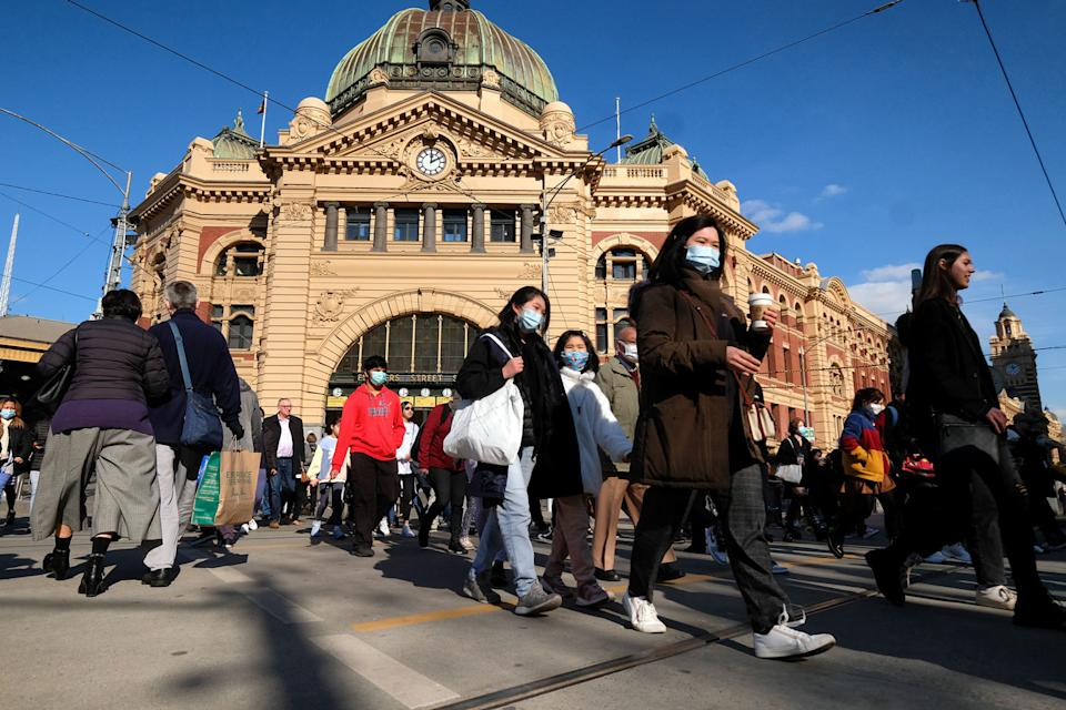 People are seen in the CBD of Melbourne, Thursday, July 8, 2021