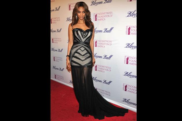 Tyra Banks wears an Art-Deco inspired dress with sheer trimmings by Francis Libiran at the Endometriosis Foundation of America's 4th Annual Blossom Ball last March 2012.