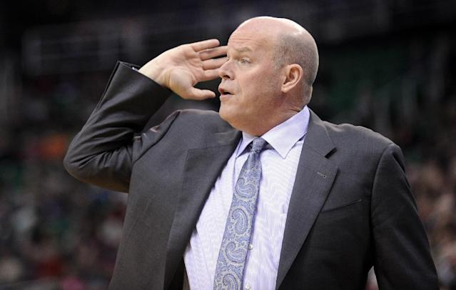 Charlotte Bobcats head coach Steve Clifford gestures to his team in the first quarter of an NBA basketball game against the Utah Jazz, Monday, Dec. 30, 2013, in Salt Lake City. (AP Photo/Gene Sweeney Jr.)