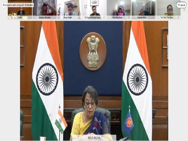 Secretary (East) in the MEA Riva Ganguly Das addressing Valedictory Session of the third India-ASEAN conference. (Twitter)