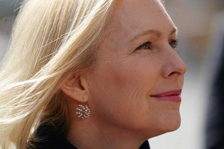 FILE PHOTO: Democratic 2020 U.S. presidential candidate and U.S. Senator Kirsten Gillibrand (D-NY) waits to go on stage during her campaign kick off event in New York