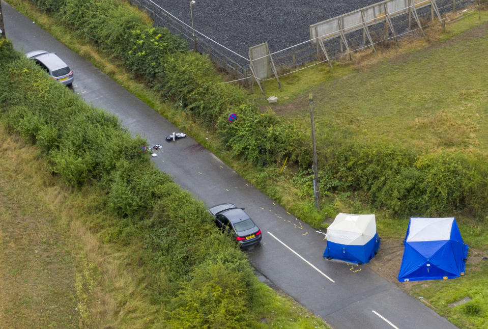 An aerial view of the scene at Ufton Lane, near Sulhamstead, Berkshire, where Pc Andrew Harper was killed. (PA Images)