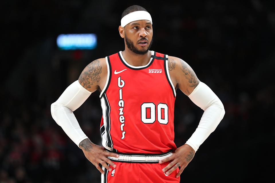 PORTLAND, OREGON - FEBRUARY 23: Carmelo Anthony #00 of the Portland Trail Blazers reacts in the first quarter against the Detroit Pistons during their game at Moda Center on February 23, 2020 in Portland, Oregon. NOTE TO USER: User expressly acknowledges and agrees that, by downloading and or using this photograph, User is consenting to the terms and conditions of the Getty Images License Agreement. (Photo by Abbie Parr/Getty Images)