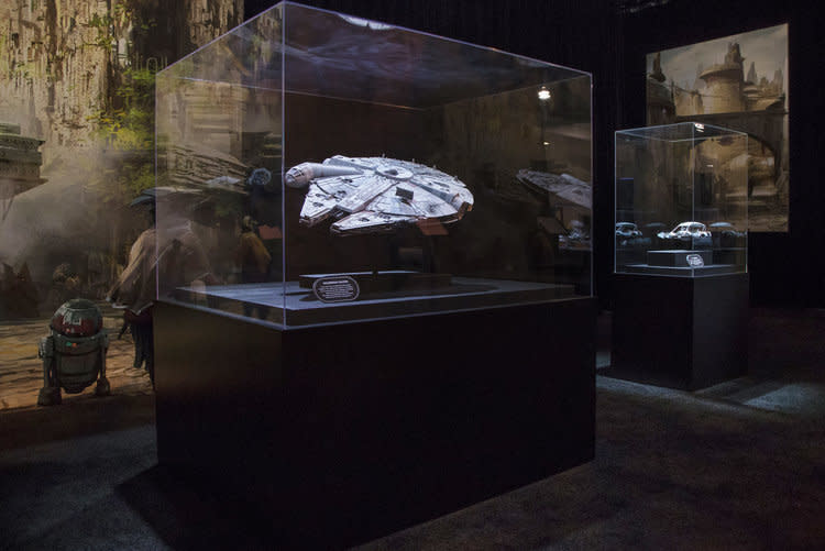 """<p>A life-sized <em>Falcon</em> that guests can pilot will be one of main attractions of the finished land. According to the tour guide, the storied Corellian ship no longer belongs to Han Solo but has fallen into possession of """"an unsavory fellow, a smuggler."""" (Disney Parks/Joshua Sudock) </p>"""