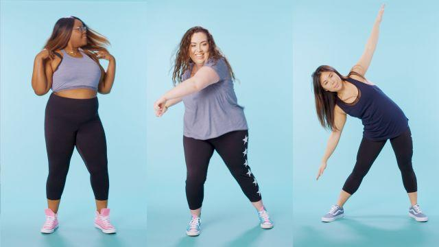 Watch women sizes 0 through 28 try on the exact same shorts. They discuss their experiences going shopping for leggings and how they feel about wearing leggings.