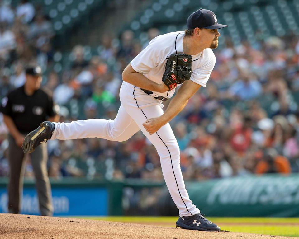 Tyler Alexander of the Detroit Tigers pitches in the first inning against the Minnesota Twins during Game 2 of a doubleheader at Comerica Park in Detroit on July 17, 2021.