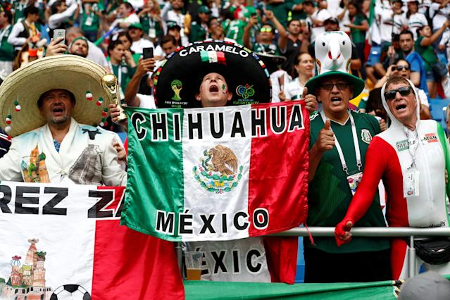 Soccer Football - World Cup - Group F - South Korea vs Mexico - Rostov Arena, Rostov-on-Don, Russia - June 23, 2018 Mexico fans inside the stadium before the match REUTERS/Damir Sagolj TPX IMAGES OF THE DAY