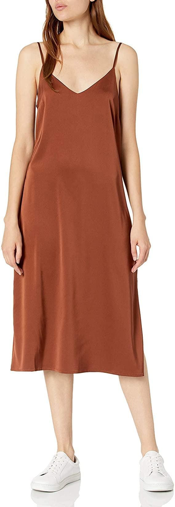 <p>This <span>The Drop Ana Silky V-Neck Midi Slip Dress</span> ($50) comes in many colors.</p>