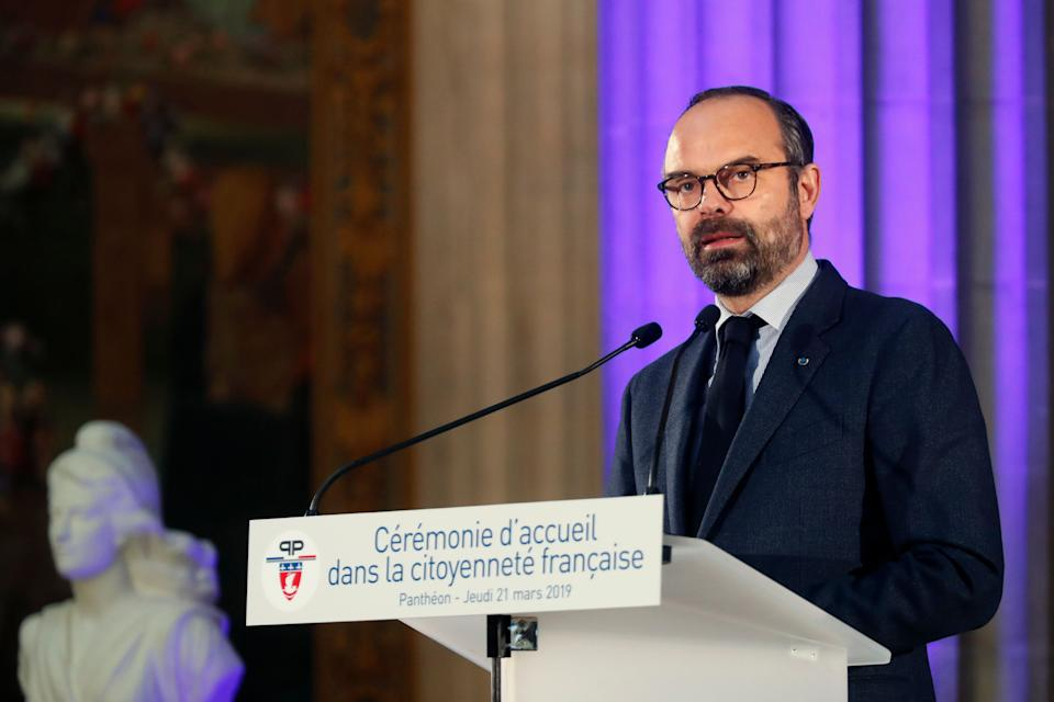 France's prime minister Edouard Philippe delivers a speech during a French Naturalization Ceremony, at the Pantheon, in Paris, Thursday, March 21, 2019. (AP Photo/Thibault Camus, Pool)