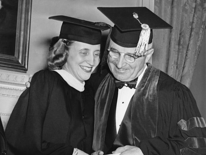 Harry Truman and his daughter Margaret at her graduation in 1946.