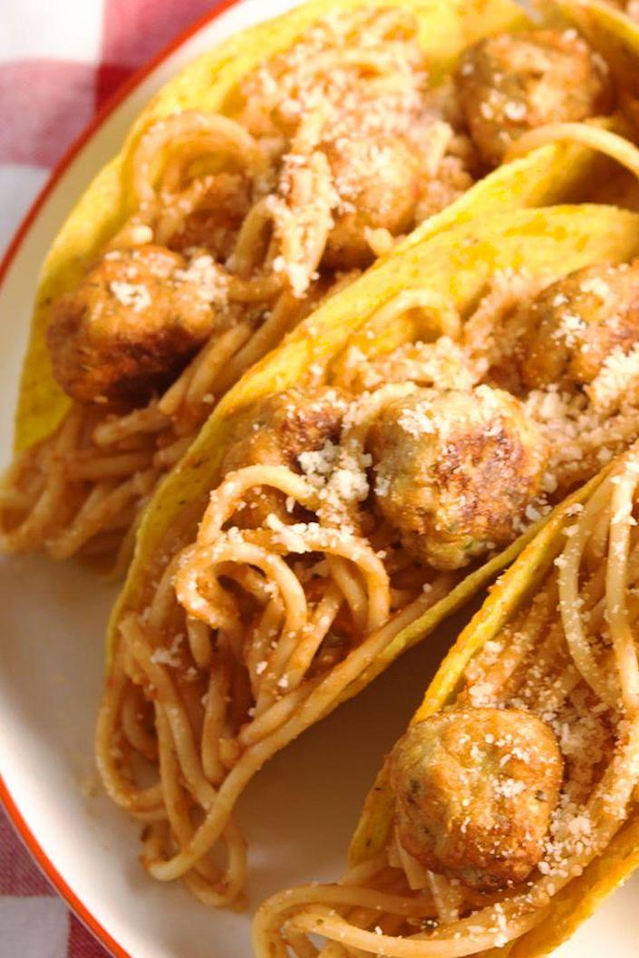 "<p>Not your average taco.</p><p>Get the recipe from <a href=""https://www.delish.com/cooking/recipe-ideas/recipes/a52670/spaghetti-meatball-tacos-recipe/"" rel=""nofollow noopener"" target=""_blank"" data-ylk=""slk:Delish"" class=""link rapid-noclick-resp"">Delish</a>.</p>"