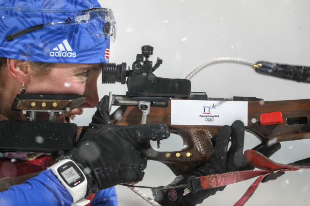 Susan Dunklee, of United States of America, shoots during the women's 4×6-kilometer biathlon relay at the 2018 Winter Olympics in Pyeongchang, South Korea, Thursday, Feb. 22, 2018. (AP Photo/Andrew Medichini)