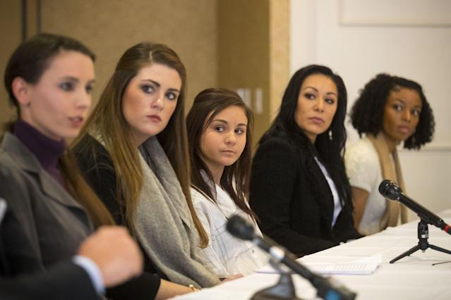 From the left, Rachael Denhollander, Sterling Riethman, Kaylee Lorincz, Jeanette Antolin and Tiffany Thomas are among those who say Larry Nassar molested them. (AP