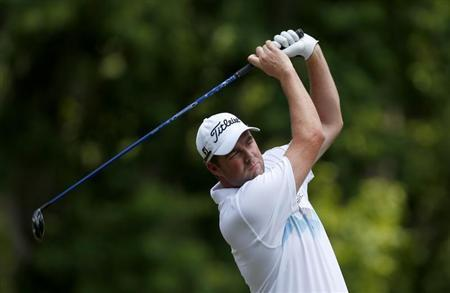 Australia's Marc Leishman tees off on the second hole during the third round of The Players Championship PGA golf tournament at TPC Sawgrass in Ponte Vedra Beach, Florida May 11, 2013. REUTERS/Chris Keane