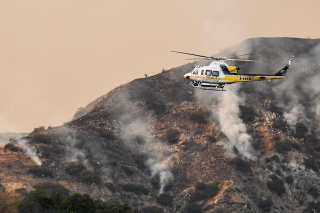 <p>A view from the La Tuna Canyon fire on Sept. 1, 2017 in Los Angeles, Calif. (Photo: PG/Bauer-Griffin/GC Images/Getty Images) </p>