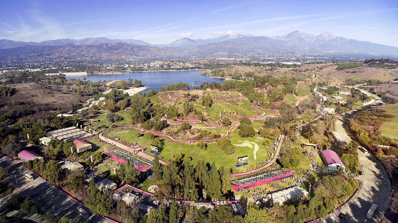 <p>The Los Angeles' Olympic bid committee rendering shows how mountain biking at Frank G. Bonelli Park would look after receiving an Olympics-style makeover. (Photo: Courtesy LA 2024) </p>