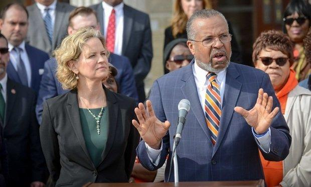 Nassau County Executive Laura Curran, left, and attorney Frederick Brewington announce a successful resolution of fair housing litigation that has been pending against the county since 2005 during a press conference Friday in Mineola, New York. (Photo by David Handschuh/NYLJ)