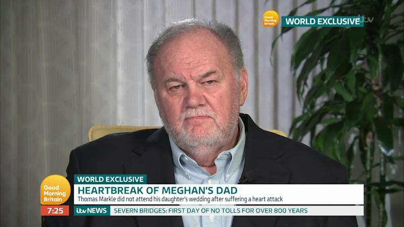 Thomas Markle talks to Piers and Susanna about wanting a relationship with his daughter Meghan, Duchess of Sussex on 'Good Morning Britain'.