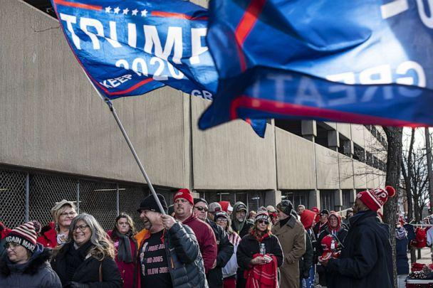 PHOTO: Supporters wait in line before a campaign rally for President Donald Trump at the Huntington Center on Jan. 9, 2020 in Toledo, Ohio. (Brittany Greeson/Getty Images, FILE)