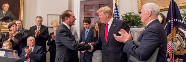 Secretary of HHS Alex Azar and President Trump, Vice President Mike Pence