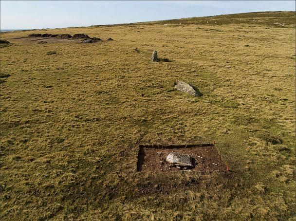 PHOTO: The arc of former standing stones at Waun Mawn in the Preseli Hills in north Pembrokeshire, west Wales, during trial excavations in 2017, viewed from the east. (Adam Stanford/Parker Pearson et al./Antiquity Publications Ltd)
