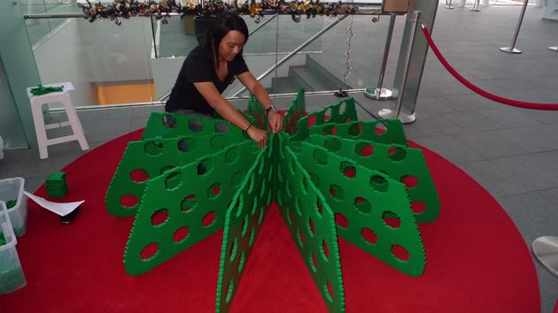 He will be building a Christmas tree made completely out of Lego bricks at the ArtScience Museum. (Yahoo! photo/Fann Sim)