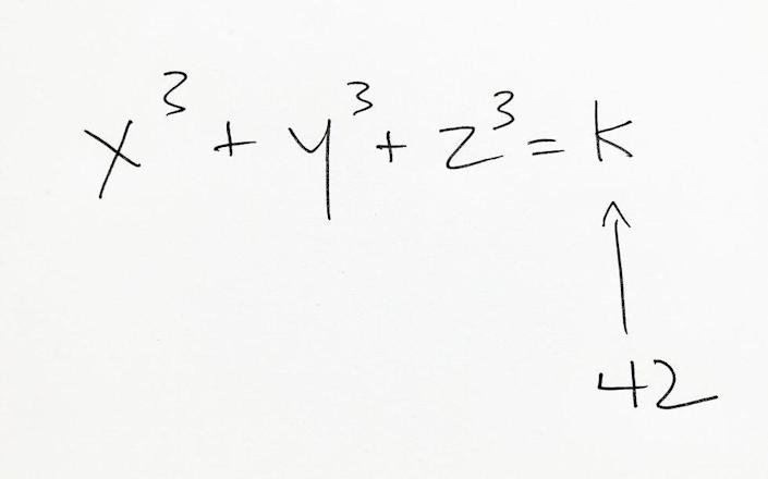 """<p>This one is some seriously ancient math. Diophantine equations are named after Diophantus of Alexandria, a 3rd century mathematician. Two particular Diophantine equations, including the one seen in this photo, evaded mathematicians until 2019. <a href=""""https://www.popularmechanics.com/science/math/a28943849/unsolvable-math-problem/"""" rel=""""nofollow noopener"""" target=""""_blank"""" data-ylk=""""slk:The breakthrough"""" class=""""link rapid-noclick-resp"""">The breakthrough</a> was enabled by the latest tech in shared computer power.</p>"""