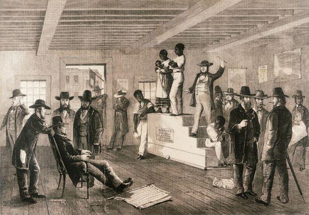 PHOTO: An illustration of a slave auction published in the Illustrated London News, Feb. 16, 1861. (Corbis via Getty Images)