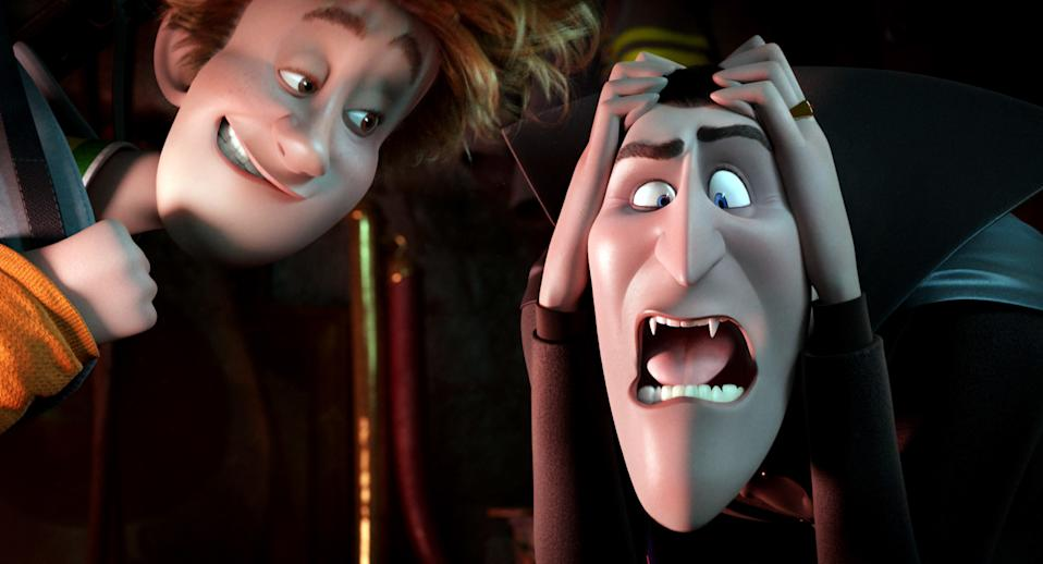 HOTEL TRANSYLVANIA, from left: Jonathan (voice: Andy Samberg), Dracula (voice: Adam Sandler), 2012. ©Columbia Pictures/courtesy Everett Collection