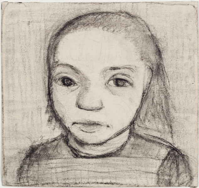 Undated file picture publicly provided by Museum Ludwig Cologne,/Rheinisches Bildarchiv, shows a charcoal drawing by German painter Paula Modersohn-Becker (1905) 'Head of a Child' (Kinderkopf) . The drawing is one of 11 drawings the western city of Cologne announced it would return to the heirs of Jewish collectors who sold them before, or shortly after, fleeing Nazi Germany. The decision comes as the federal government refuses a claim by another Jewish family seeking the return of two Bellotto paintings their grandfather sold after emigrating to Switzerland to escape the Nazis. (AP Photo/ Rheinisches Bildarchiv Koeln , Sabrina Walz) MANDATORY CREDIT