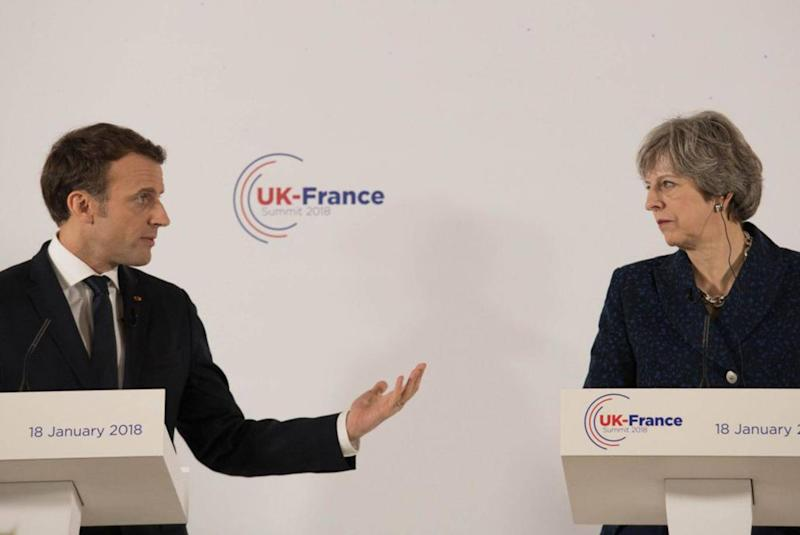 The comments came after Theresa May and Emmanuel Macron attended a UK-France summit (Getty)