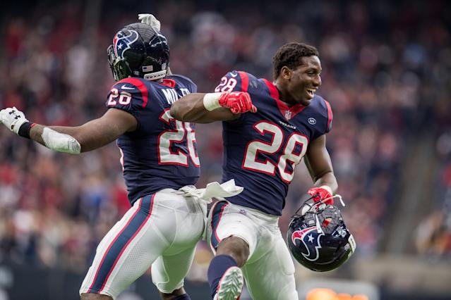 Alfred Blue (right) and Lamar Miller (left) can keep Houston Texans surging towards the playoffs with a win at the New York Jets