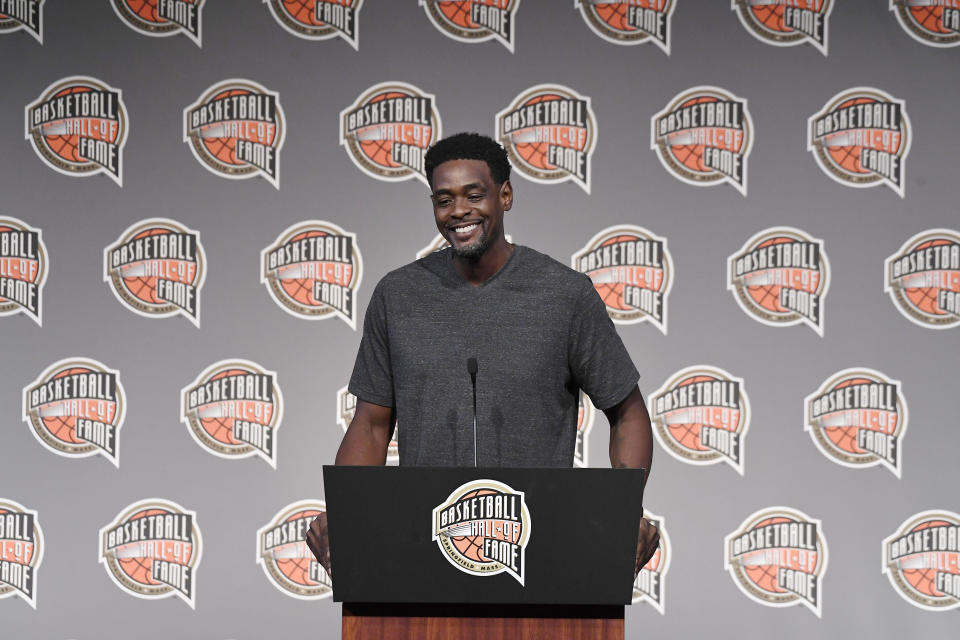 Basketball Hall of Fame Class of 2021 inductee Chris Webber speaks at a news conference at Mohegan Sun, Friday, Sept. 10, 2021, in Uncasville, Conn. (AP Photo/Jessica Hill)